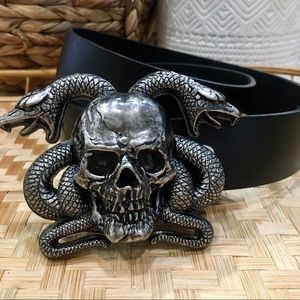 Skull snakes steampunk gothic black leather belt